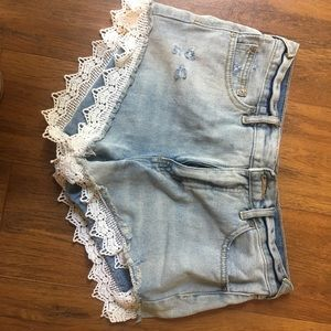 Free people shorts! Jean shorts with lace!